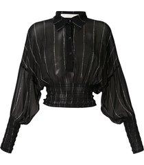 dion lee shirred stripe ggt blouse - black