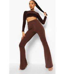 basic strakke broek met hoge taille en wijd uitlopende pijpen, chocolate