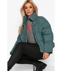 plus kortegewatteerde jas met hoge hals, green