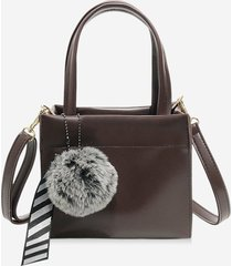 retro pom pom ribbon pendant square handbag
