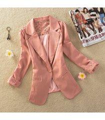 pink women's one button slim casual business blazer suit jacket coat outwear
