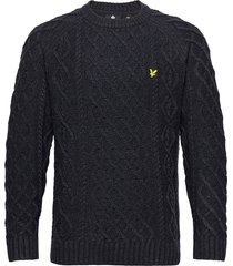heavy cable knit crew neck gebreide trui met ronde kraag blauw lyle & scott