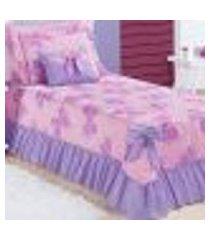 kit cobre leito lilás solteiro infantil borboletas menina 4 peças 2,30m x 1,75m