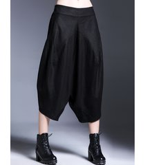 miting donna casual pantaloni ampi a palazzo sciolti asimmetrici in colore a tinta untia