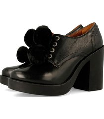 zapatos mujer negro pompones gioseppo 42105n