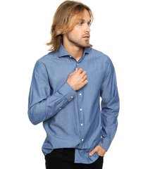 camisa azul tommy hilfiger slim fit br chambray nfw6