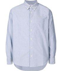 visvim elbow-patch dress shirt - blue