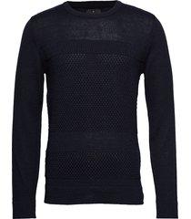 fisherman knitted jumper gebreide trui met ronde kraag blauw junk de luxe