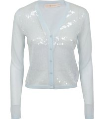 tory burch sequin-front cardigans