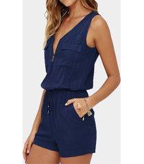 traje de baño azul marino con bolsillo diseño deep v cuello con cordón ajustable