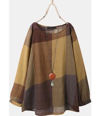 camicetta asimmetrica a maniche lunghe con scollo a stampa scozzese per donna