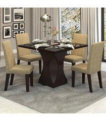 mesa de jantar 4 lugares frevo com vidro preto 11553 ameixa/neve - mobilarte móveis