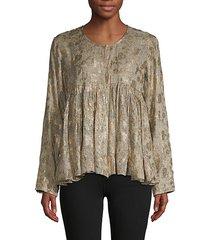 metallic floral-print roundneck blouse