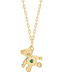 love & protection 14k gold vermeil, emerald & crystal teddy bear pendant necklace