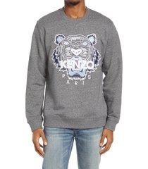 men's kenzo classic tiger embroidered crewneck sweatshirt, size medium - grey