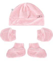 kit touca, luvas e sapatinho beth bebê plush luxo rosa claro