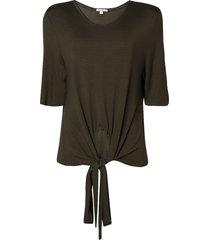 blusa dudalina manga curta decote careca listrado feminina (verde escuro listrado, g)