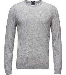 leno-p stickad tröja m. rund krage grå boss