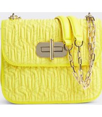 tommy hilfiger women's quilted turnlock crossbody bag yellow neon -