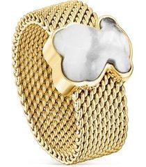 anillo mesh color de acero ip dorado y howlita tous