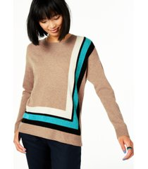 charter club border-trim cashmere sweater, created for macy's