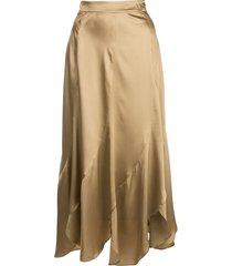 nicholas asymmetric midi skirt - brown