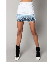 akira good problem mini distressed denim skirt