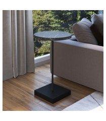 mesa lateral redonda artesano industrial 60x35cm fosca