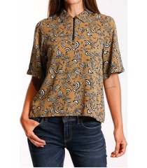camisa floral zipper
