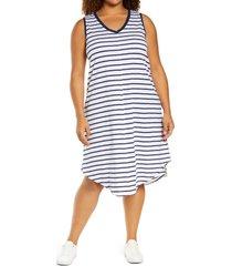 plus size women's caslon shirttail tank dress, size 3x - white
