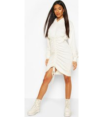 geplooide sweatshirt jurk met capuchon, white