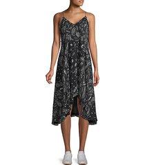 bagda ruffled print high-low dress