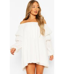 plisse off the shoulder puff sleeve swing dress, white