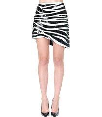 saint laurent white & black sequined mini skirt