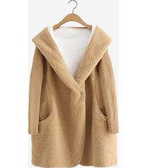cappotto con cappuccio in peluche
