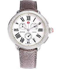 stainless steel & diamond lizard-strap watch