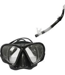 máscara de mergulho black com protetor nasal nautika + respirador snorkel flex