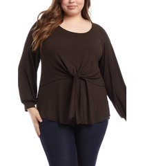 plus size women's karen kane layered tie front top, size 0x - brown