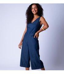 macacão pantacourt jeans alça larga pp azul