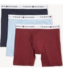tommy hilfiger men's classic cotton boxer brief 3pk dark red/light blue/navy - s