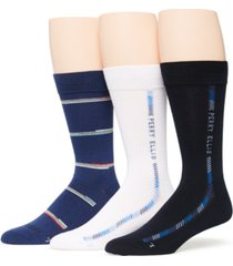 perry ellis portfolio men's 3-pack striped socks