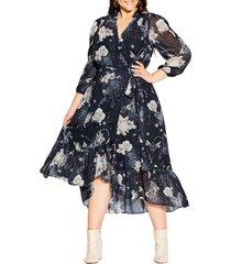 plus size women's city chic divinity high low wrap dress, size medium - blue