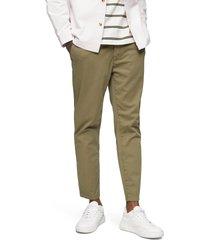 men's topman whyatt classic tie waist stretch skinny joggers, size 34 x 32 - brown