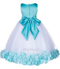 floral tulle rose petal flower girl dress bridesmaid wedding pageant easter 167s