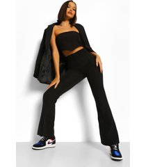 getailleerde strakke broek met wijd uitlopende pijpen, black