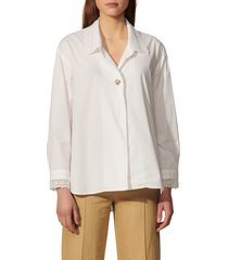 women's sandro lace collar button-up shirt, size 3 - white