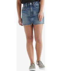 women's high rise cut off jean skirt