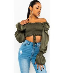 akira sunday funday long sleeve ruched crop top