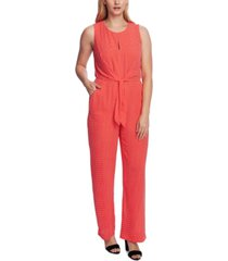 vince camuto printed tie-front textured jumpsuit