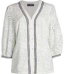 karl lagerfeld paris women's puff-sleeve eyelet blouse - soft white - size xs